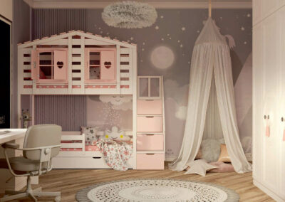 Мебель в нежно-розовых тонах в детскую спальню девочки — проект 4337