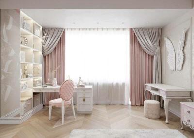 Мебель в нежно-розовом цвете в детскую спальню девочки 6-9 лет — проект 3895-1