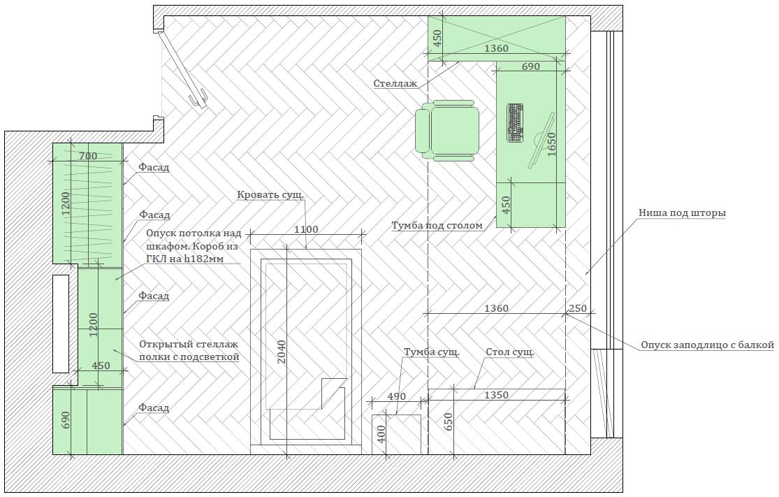 Мебель в детскую спальню девочки 6-9 лет проект 3895-1-6