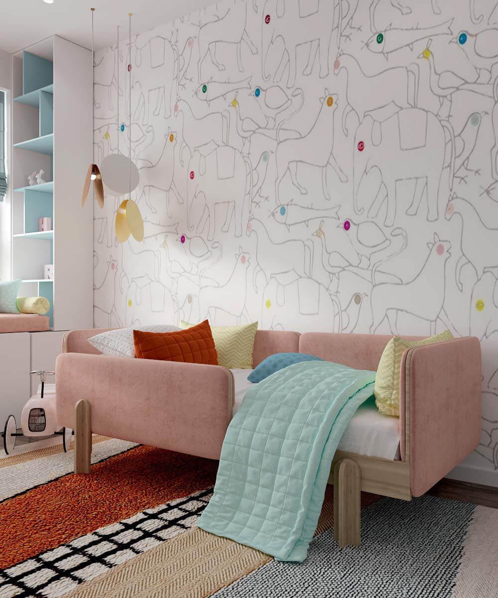 Мебель в детскую спальню девочки 6 лет проект 3775-2-1