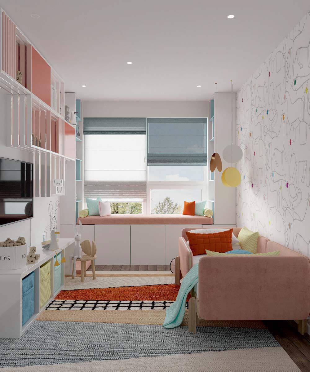 Мебель в детскую спальню девочки 6 лет проект 3775-2-2