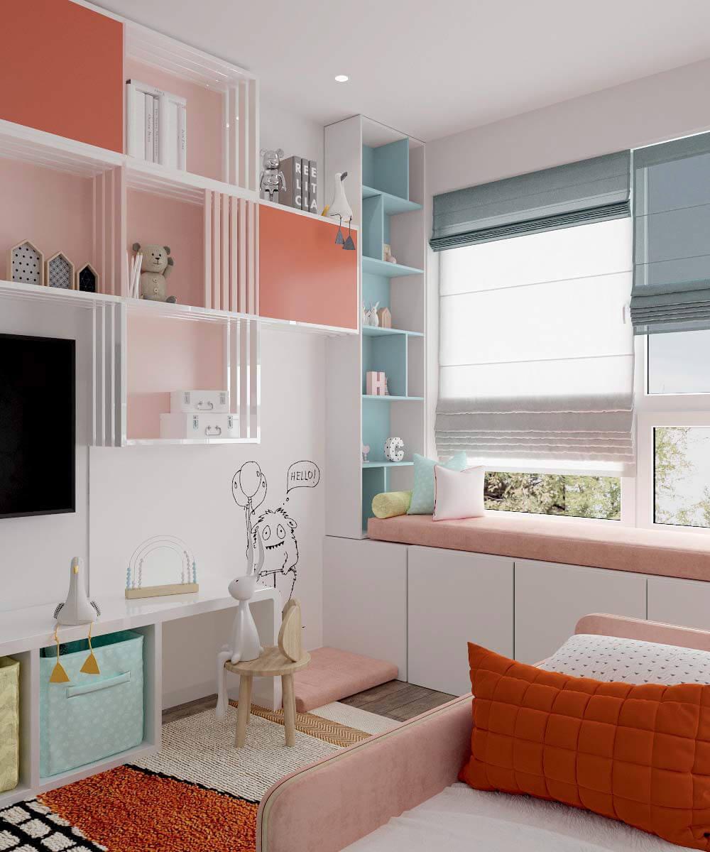 Мебель в детскую спальню девочки 6 лет проект 3775-2-3