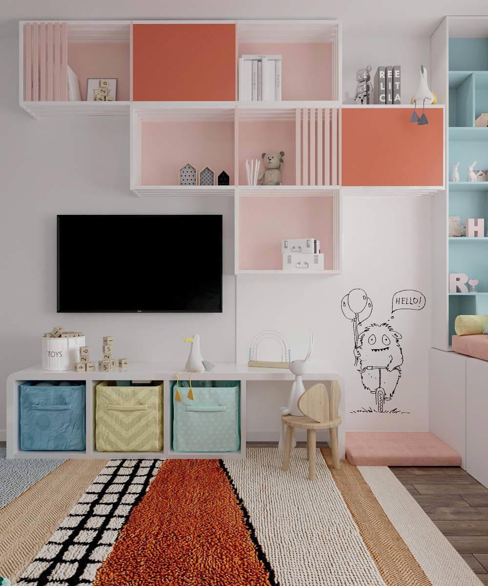 Мебель в детскую спальню девочки 6 лет проект 3775-2-4
