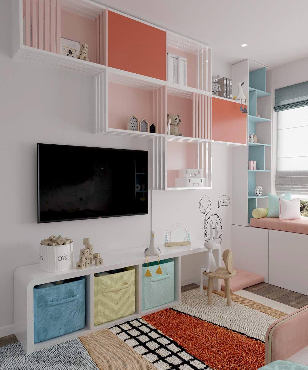 Мебель в детскую спальню девочки 6 лет проект 3775-2-8