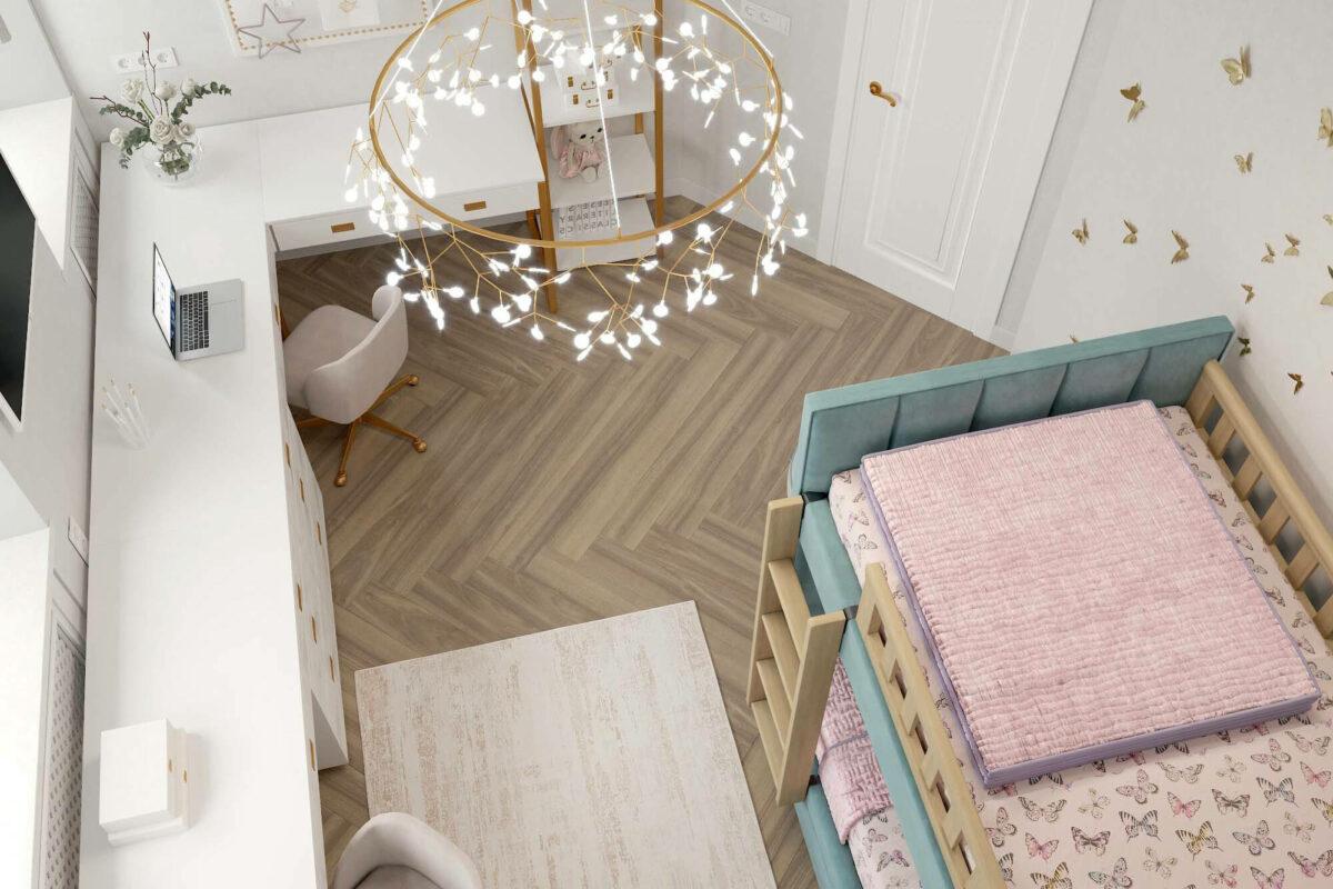 Мебель в детскую спальню для 2 девочек проект 3675-3