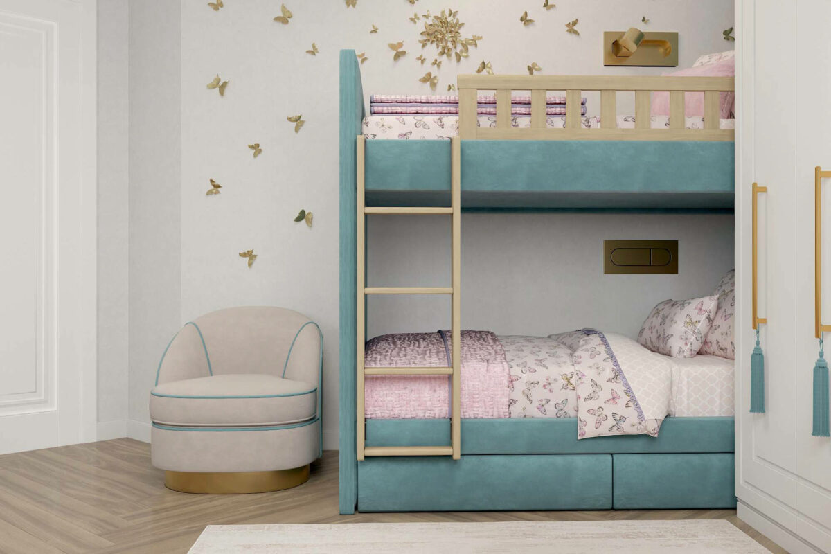 Мебель в детскую спальню для 2 девочек проект 3675-4