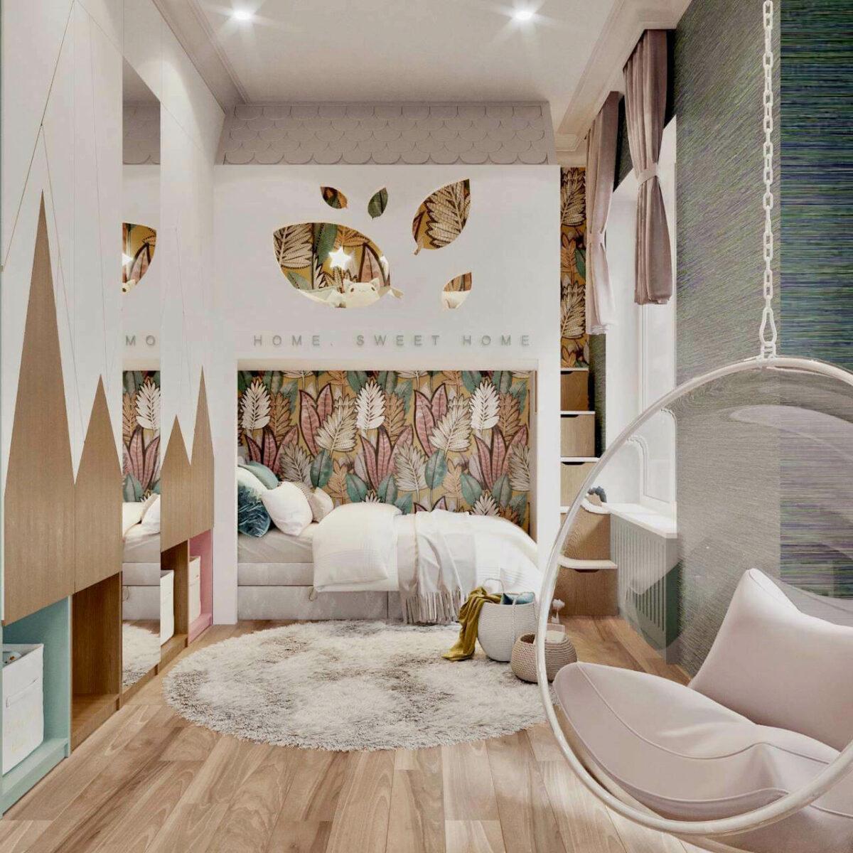 Мебель в детскую спальню для девочки проект 3461-1