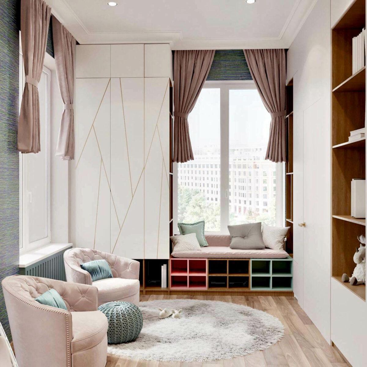 Мебель в детскую спальню для девочки проект 3461-2