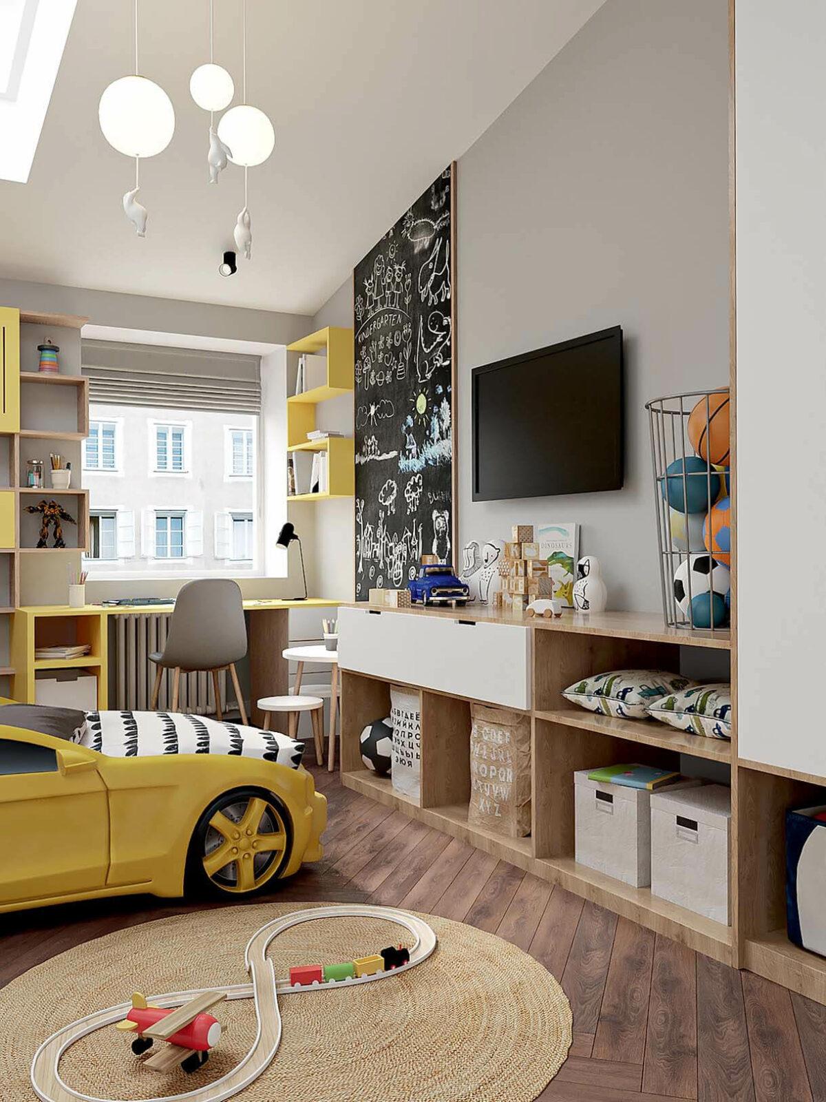 Мебель в детскую спальню мальчика 2-5 лет проект 3973-1-5