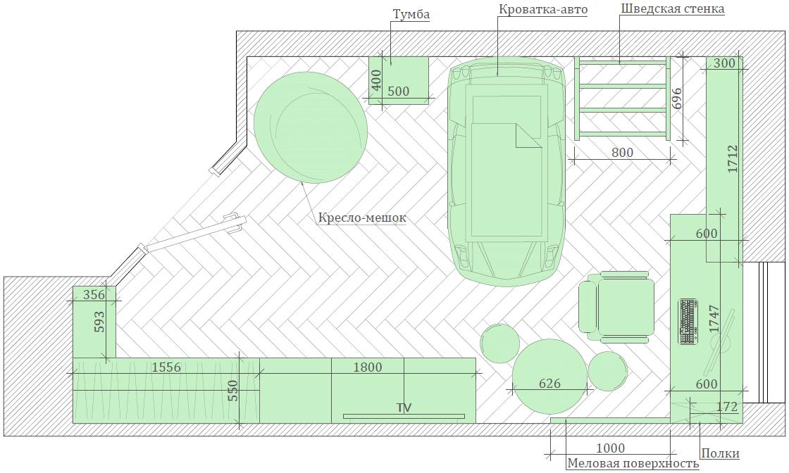 Мебель в детскую спальню мальчика 2-5 лет проект 3973-1-8