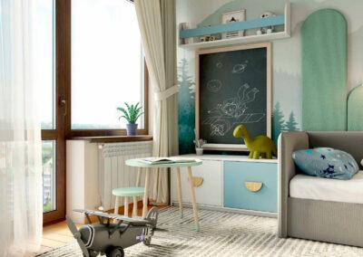 Красивая мебель в нейтральных оттенках в детскую спальню мальчика 3-6 лет — проект 5629