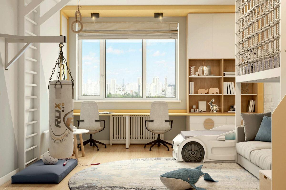 Мебель в детскую спальню мальчика проект 4453-1