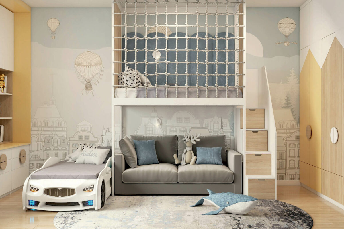 Мебель в детскую спальню мальчика проект 4453-4