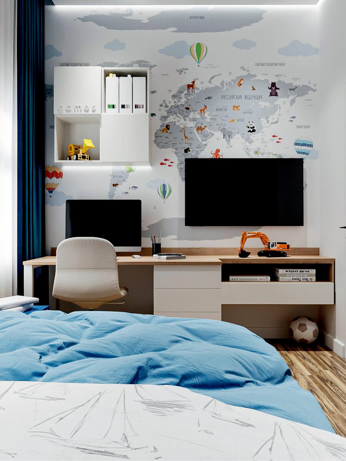 Мебель в детскую спальню мальчика-школьника проект 4865-1