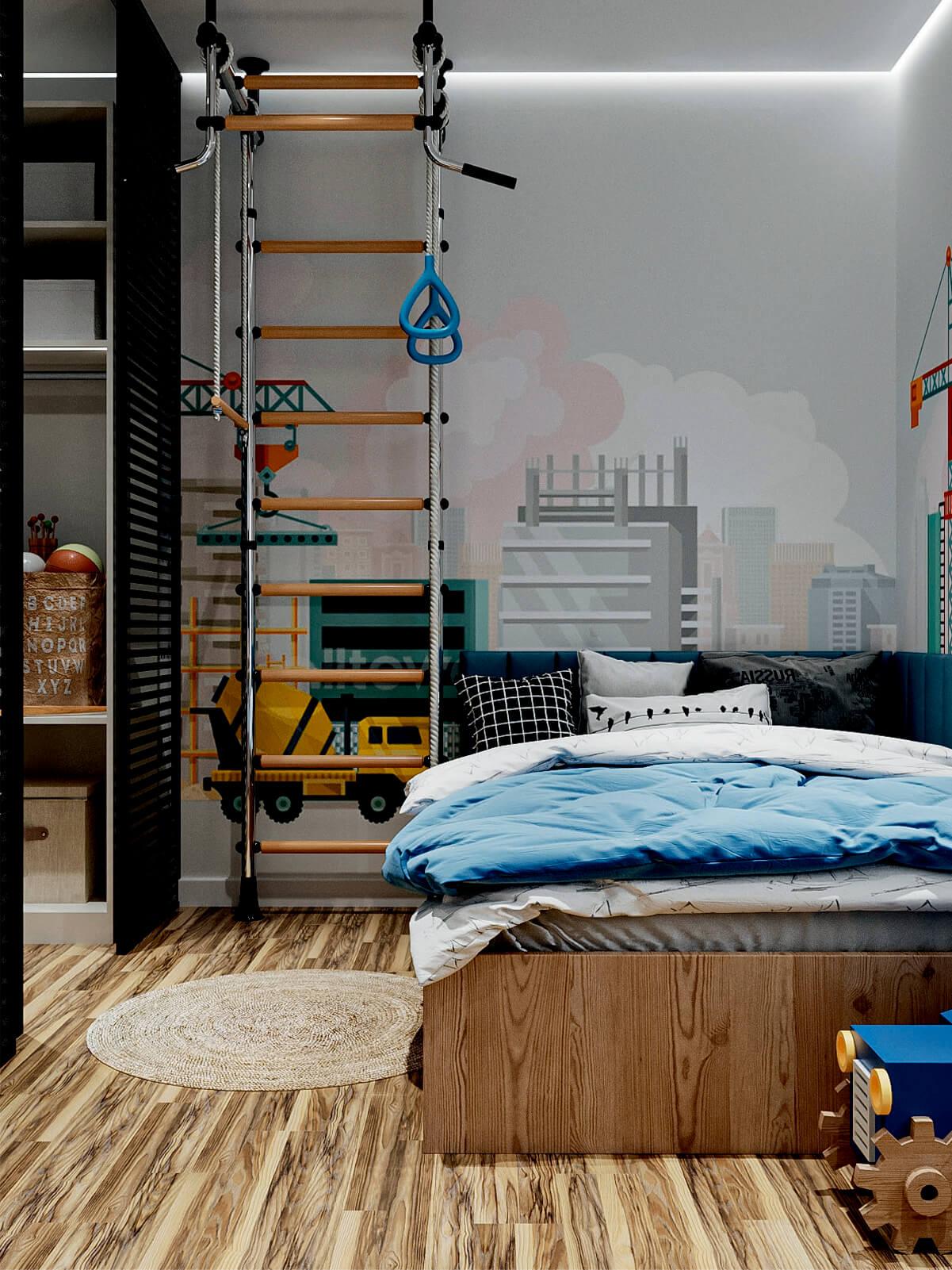 Мебель в детскую спальню мальчика-школьника проект 4865-2