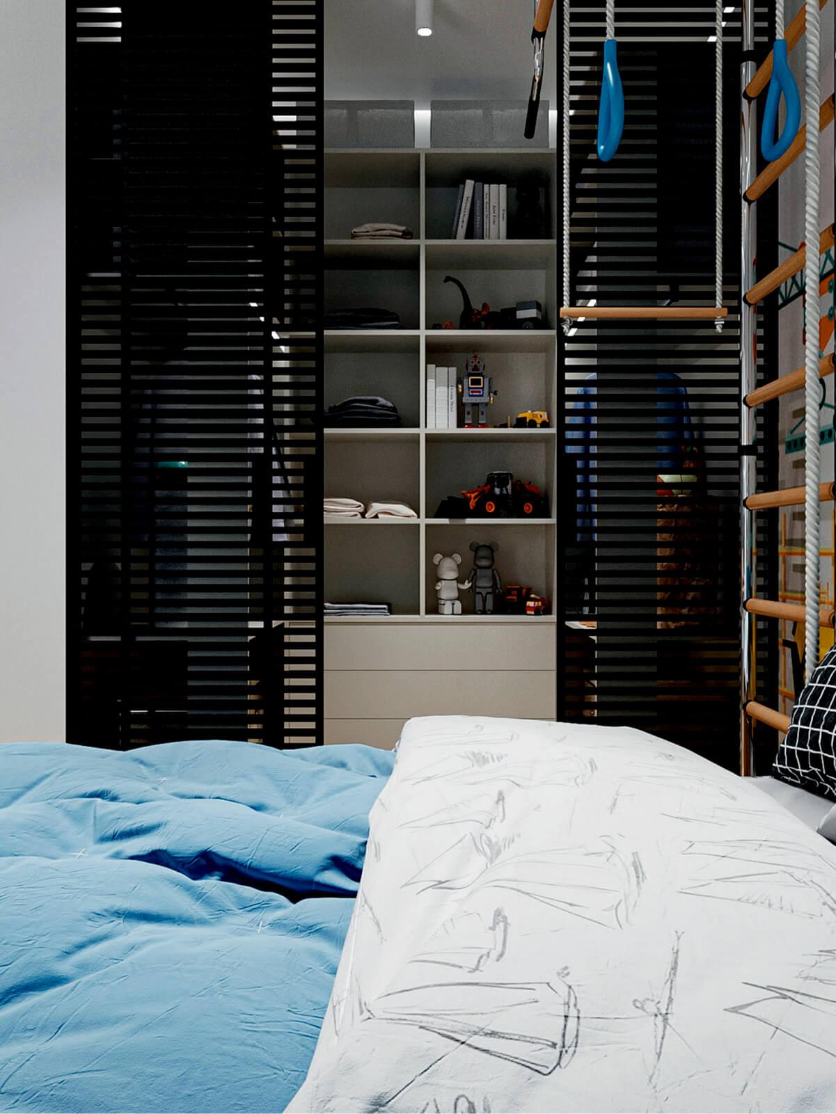 Мебель в детскую спальню мальчика-школьника проект 4865-3
