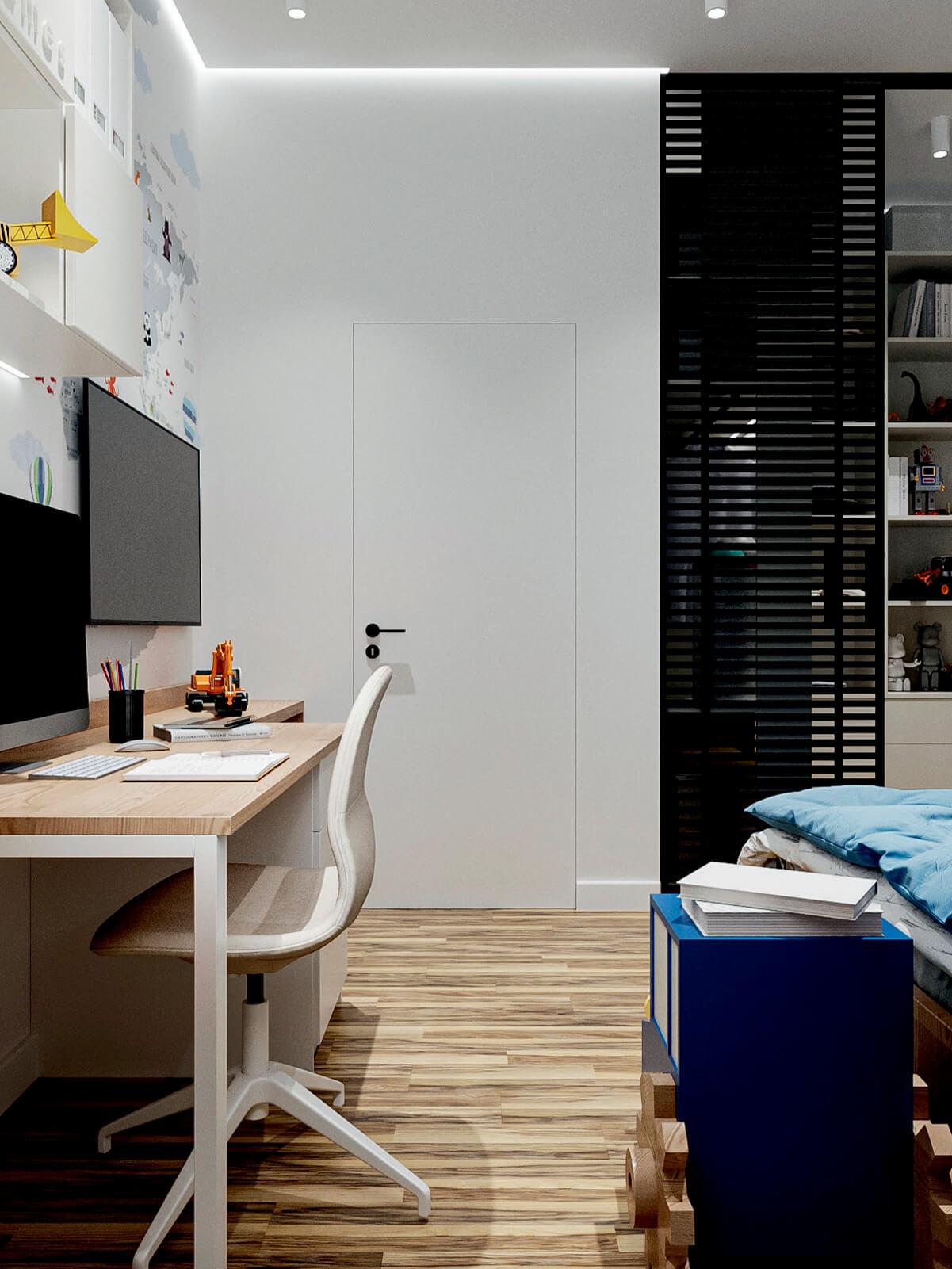 Мебель в детскую спальню мальчика-школьника проект 4865-4