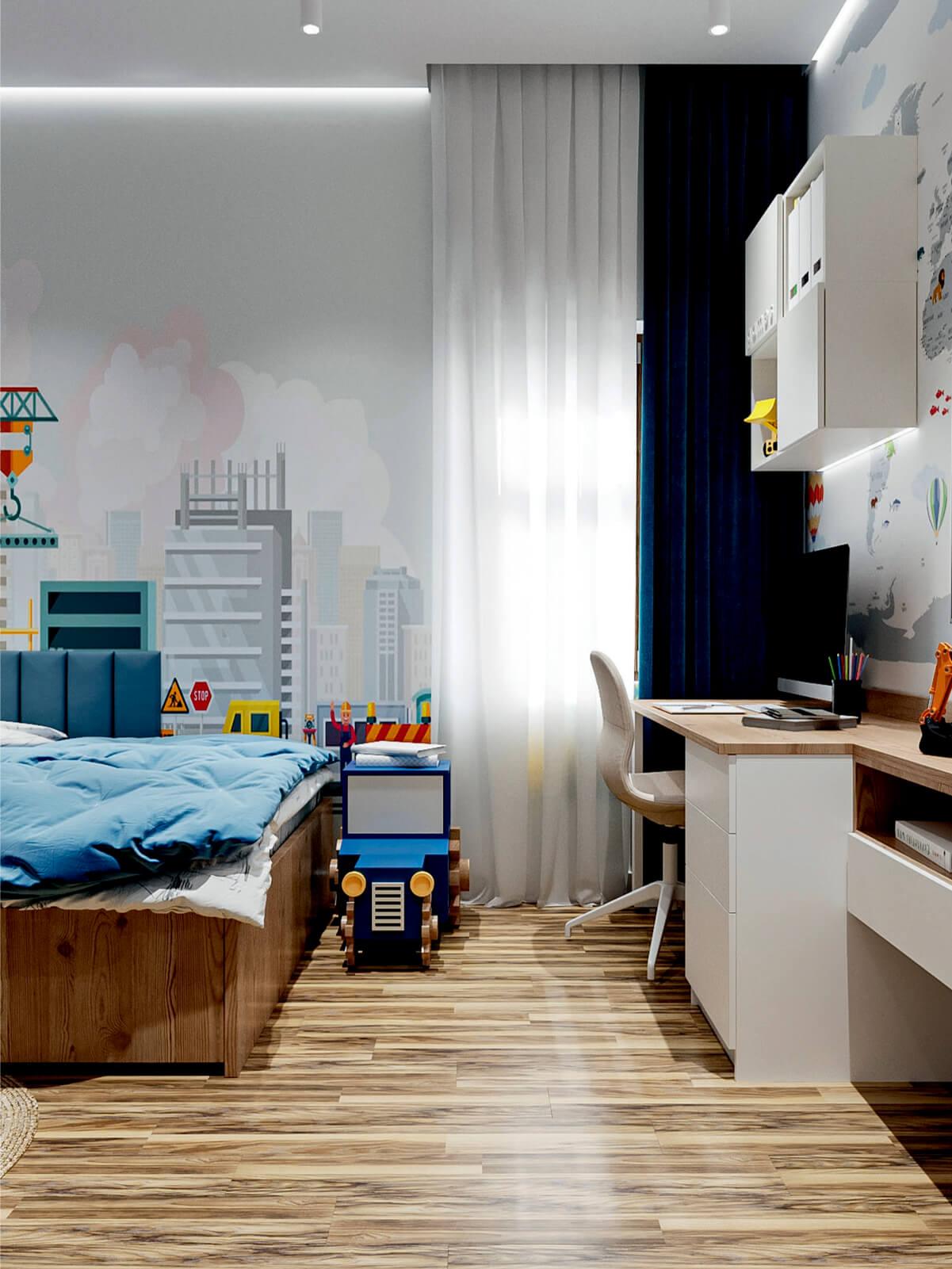 Мебель в детскую спальню мальчика-школьника проект 4865-6
