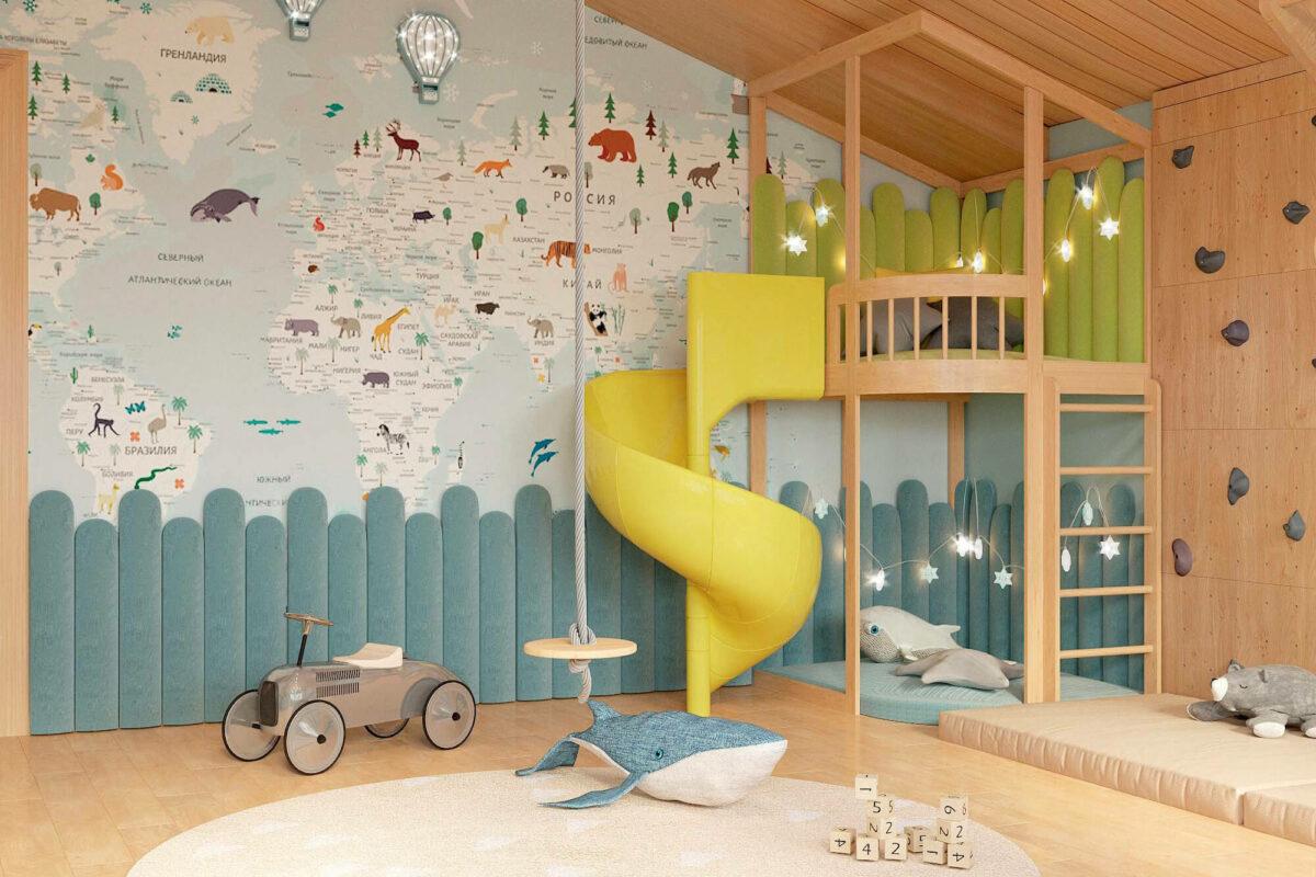 Мебель в игровую комнату 2 мальчиков проект 3559-4