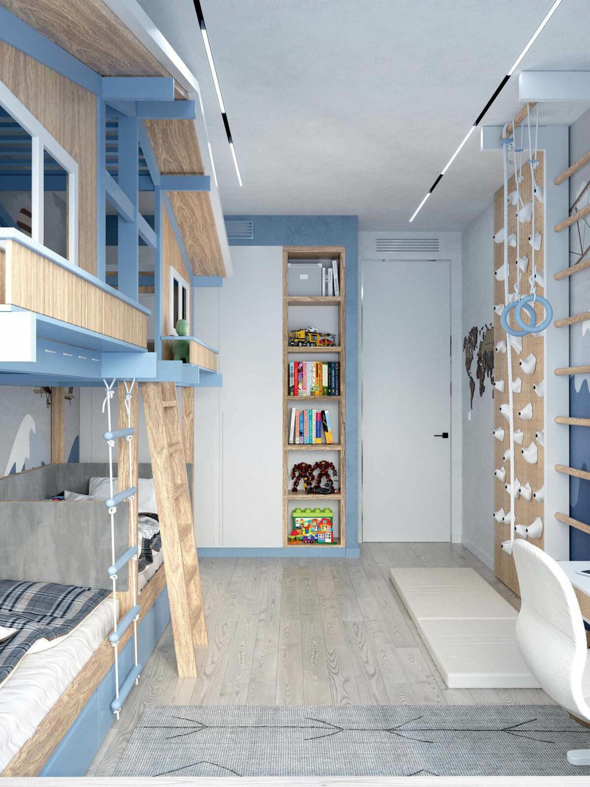 Мебель в игровую комнату мальчика 8-10 лет проект 3933-1