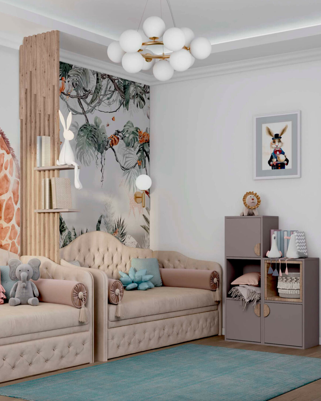 Мебель в комнату 2 девочек разного возраста проект 5557-3