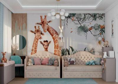 Удобная мебель в детскую спальню двух девочек разного возраста — проект 5557