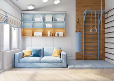 Мебель в синем цвете в комнату мальчика 8 лет — проект 3895-2