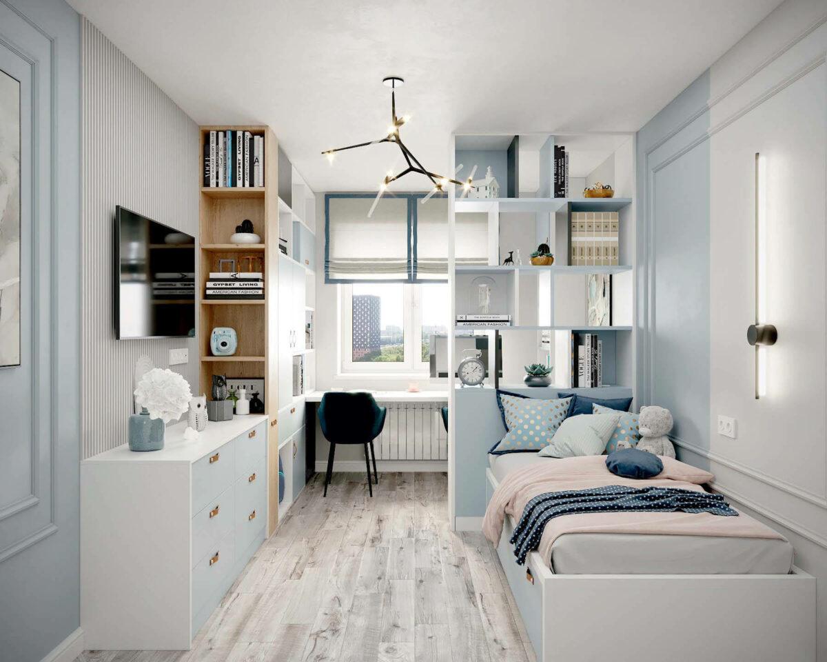 Мебель в подростковую спальню девочки проект 3907-1
