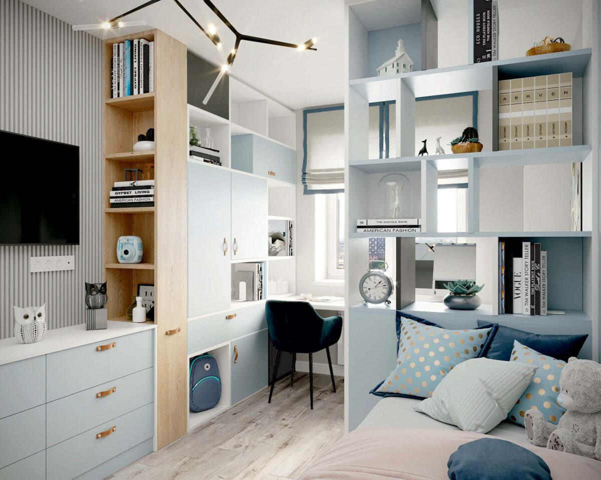 Мебель в подростковую спальню девочки проект 3907-4