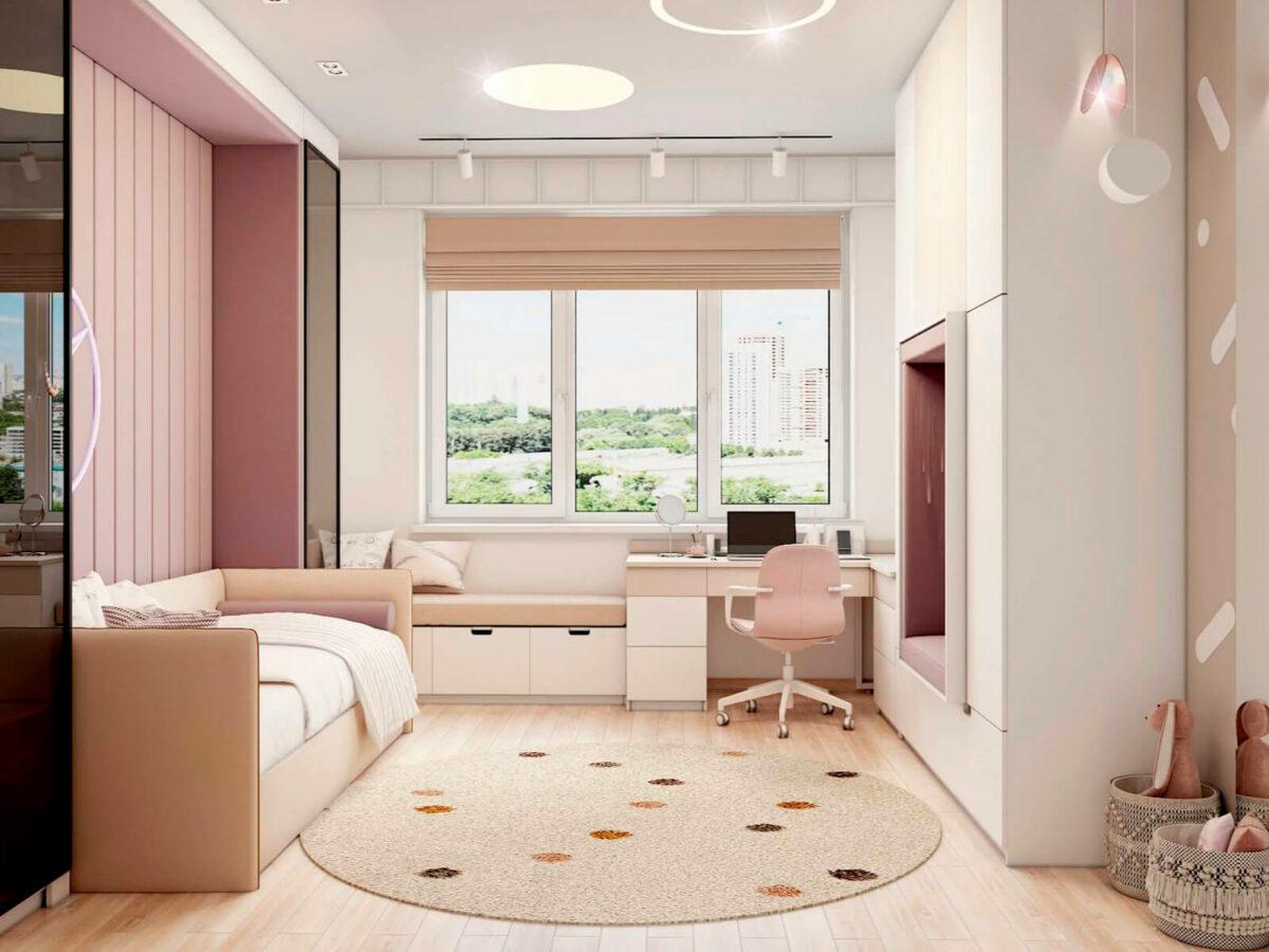 Мебель в подростковую спальню девочки проект 5577-2