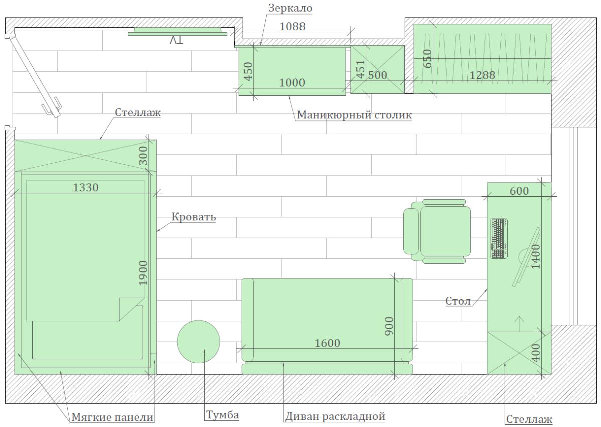 Мебель в спальню девочки-школьницы 10-14 лет проект 3865-8