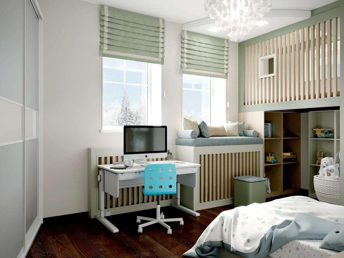 Мебель в спальню для мальчика 7 лет проект 3875-1