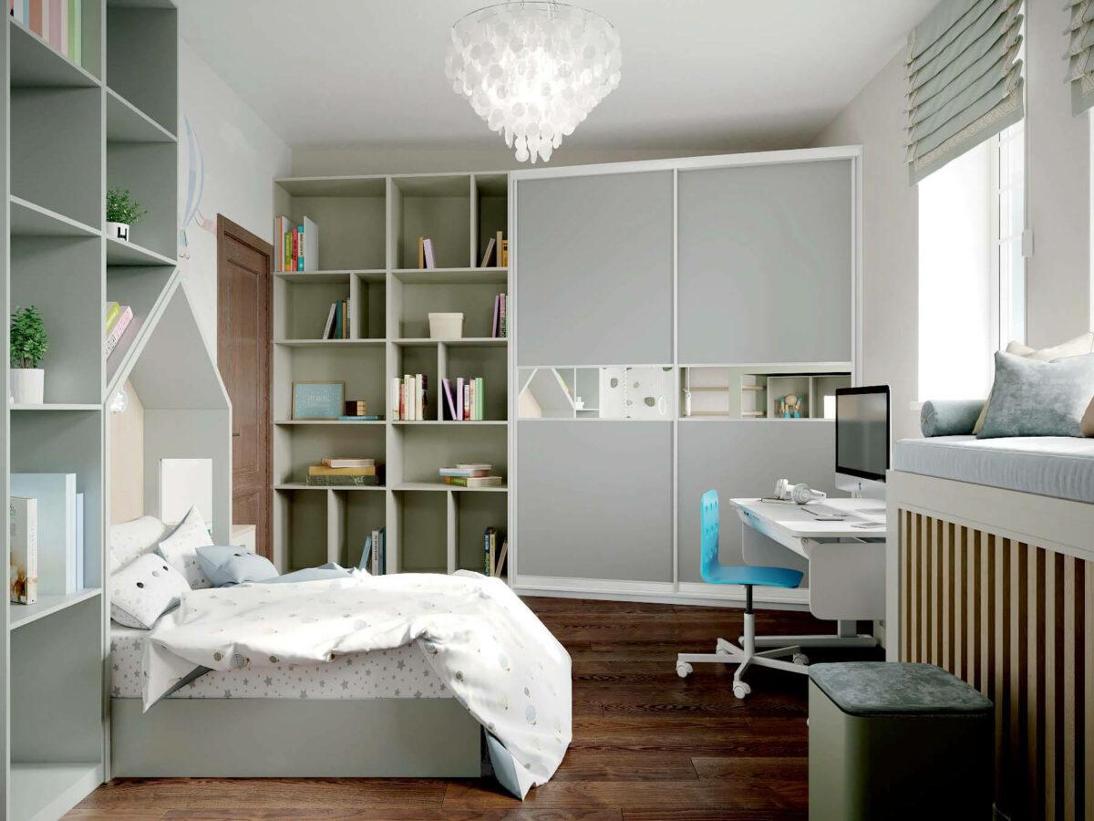 Мебель в спальню для мальчика 7 лет проект 3875-3