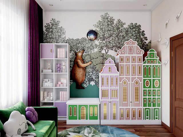 Модная мебель для комнаты девочки проект 3345-3