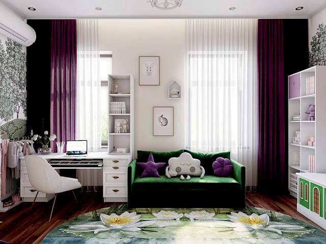 Модная мебель для комнаты девочки проект 3345-4