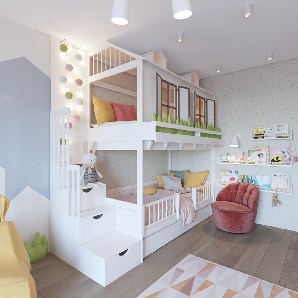 Необычный и веселый дизайн интерьера детской для девочки 1