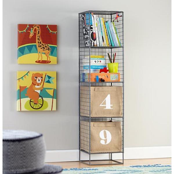 Креативный дизайн полки для детской из металлической сетки