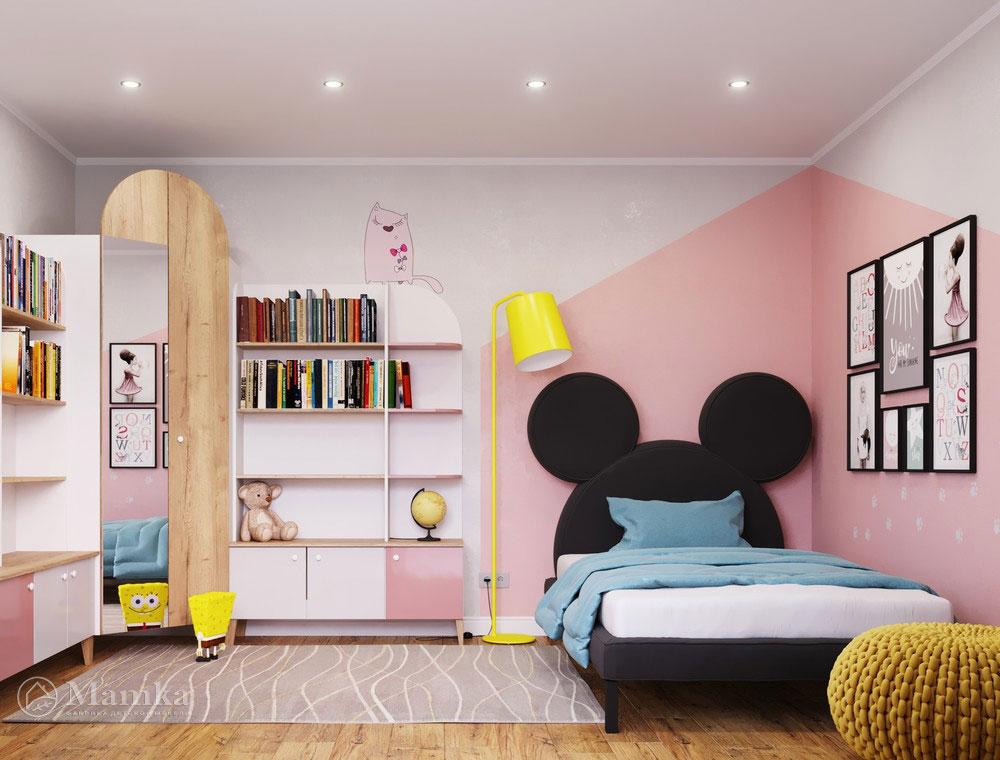 Оригинальный и яркий дизайн интерьера детской для девочки 1