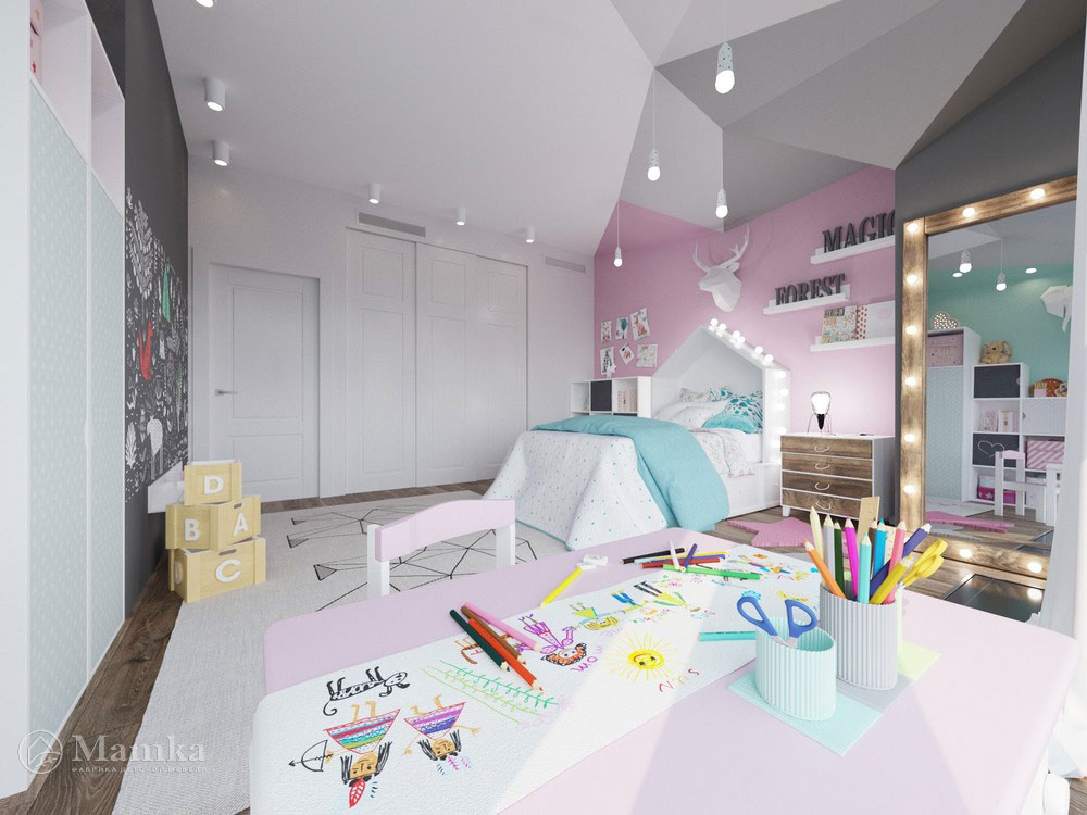 Оригинальный дизайн маленькой детской комнаты для девочки 3