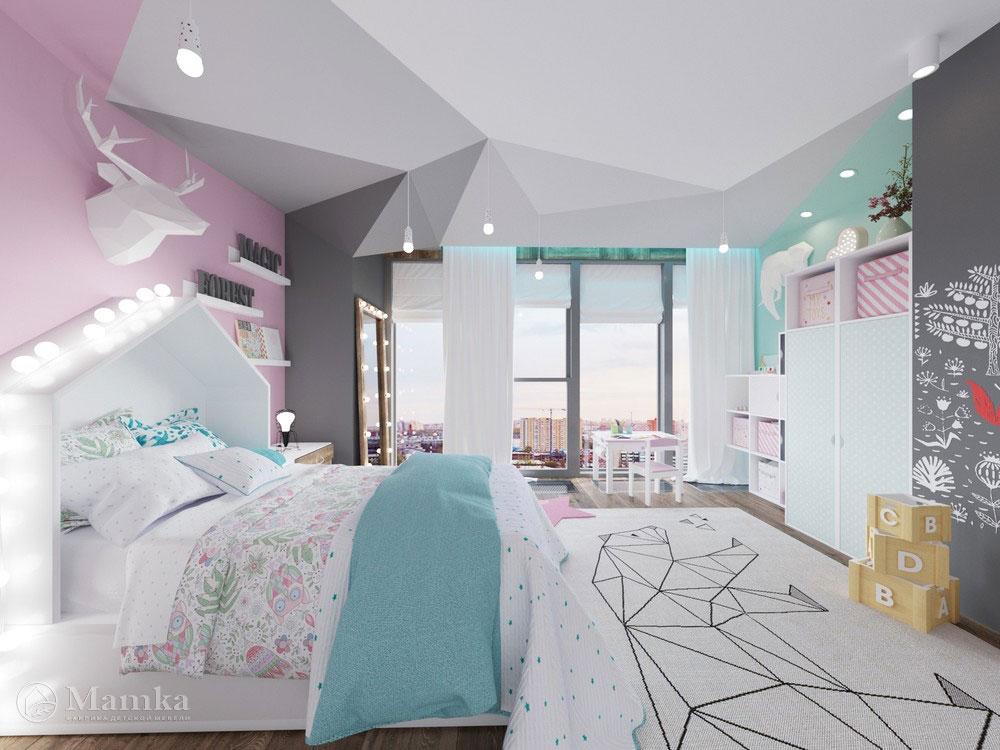 Оригинальный дизайн маленькой детской комнаты для девочки 4