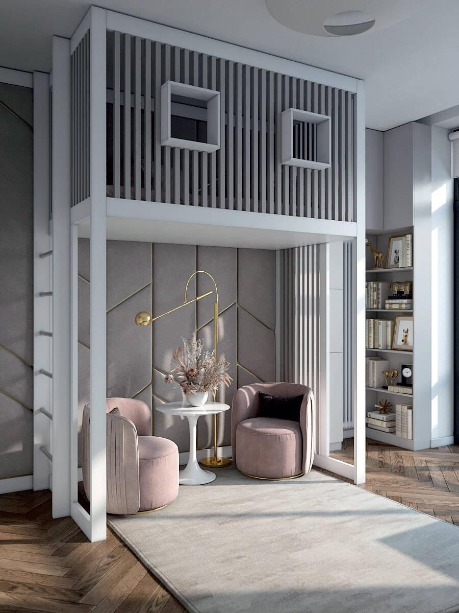 Подростковая мебель в комнату девочки проект 4425-2