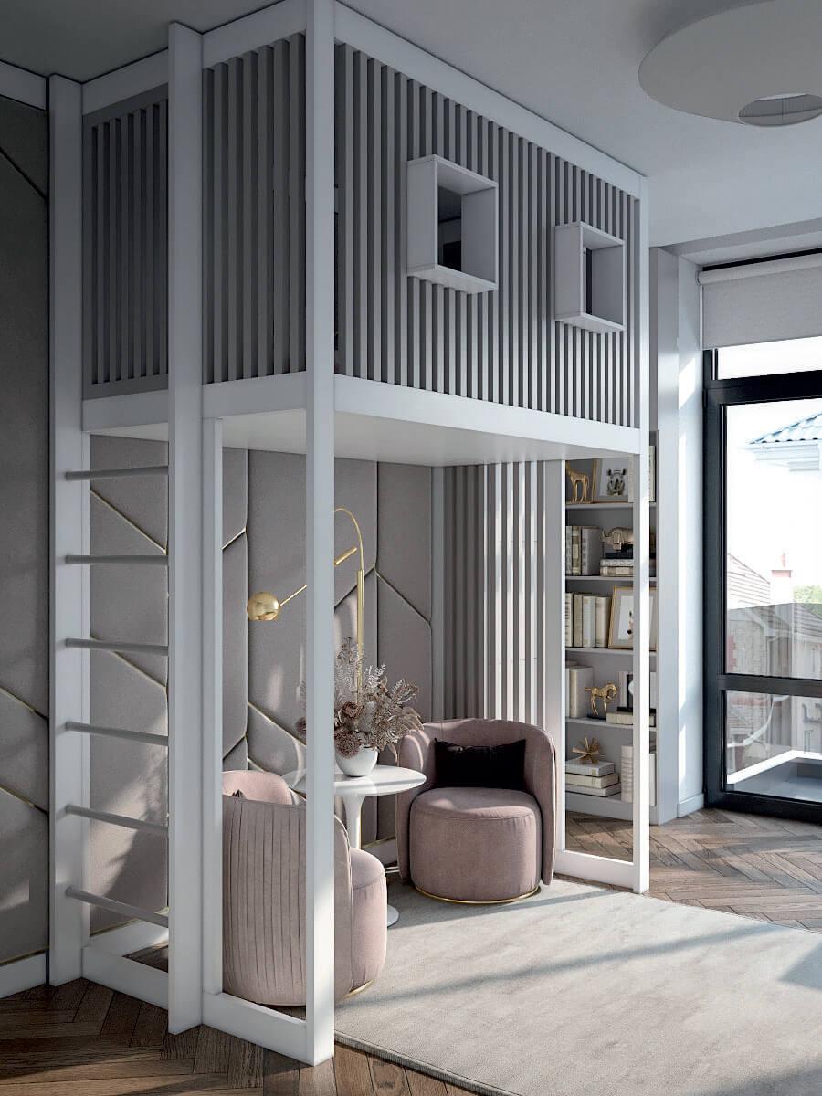 Подростковая мебель в комнату девочки проект 4425-4