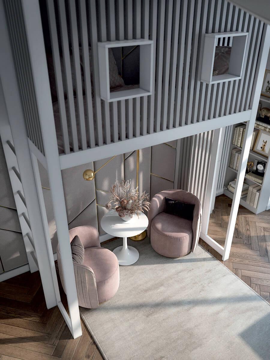Подростковая мебель в комнату девочки проект 4425-7