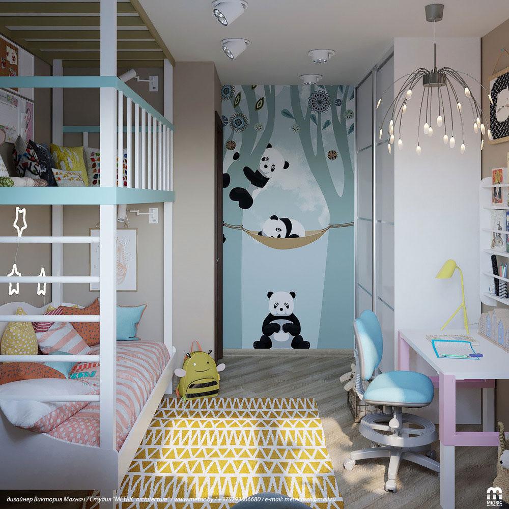 Практичный дизайн детской комнаты с двухъярусной кроватью 1