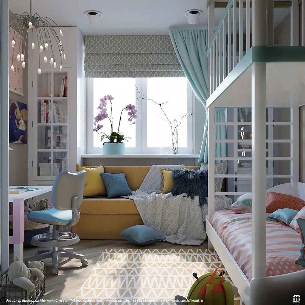 Практичный дизайн детской комнаты с двухъярусной кроватью 2