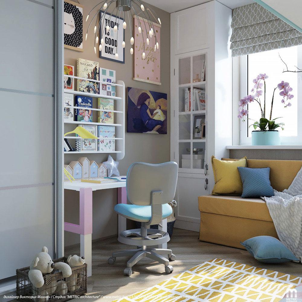 Практичный дизайн детской комнаты с двухъярусной кроватью 3