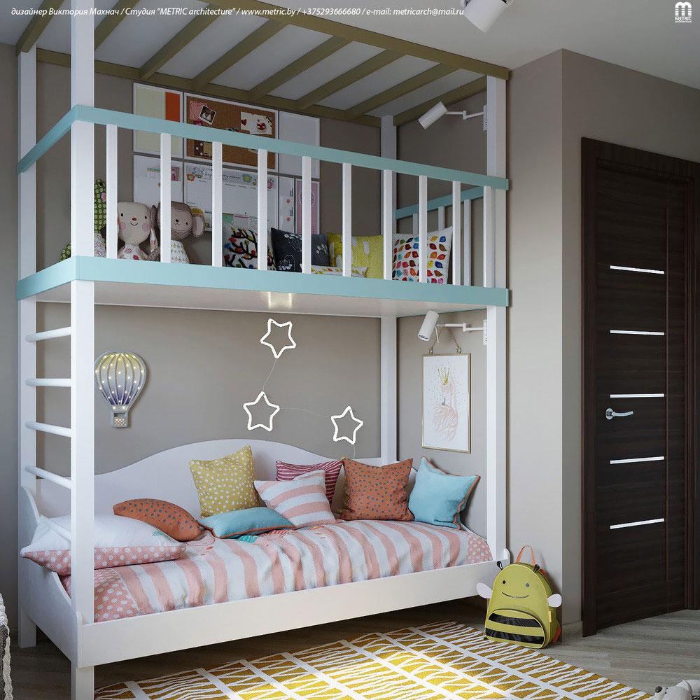 Практичный дизайн детской комнаты с двухъярусной кроватью 4
