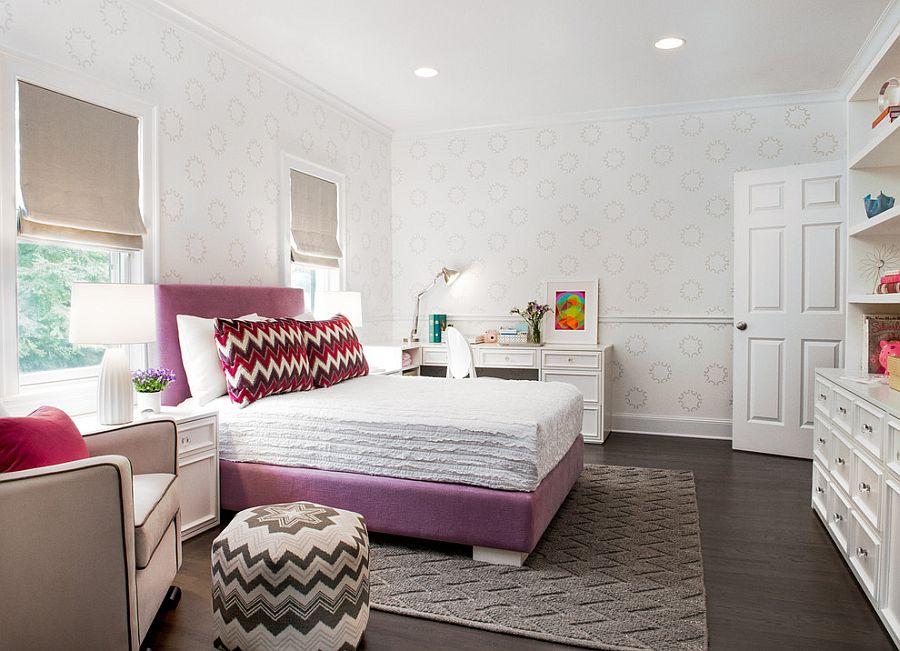 Принт шеврон в интерьере спальни