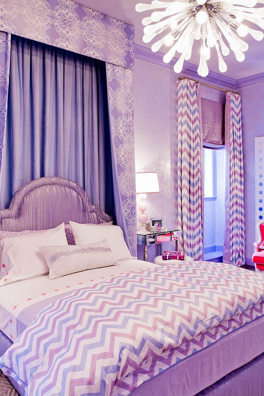Принт шеврон. Роскошный текстиль в сиреневых тонах для маленькой принцессы от Rikki Snyder