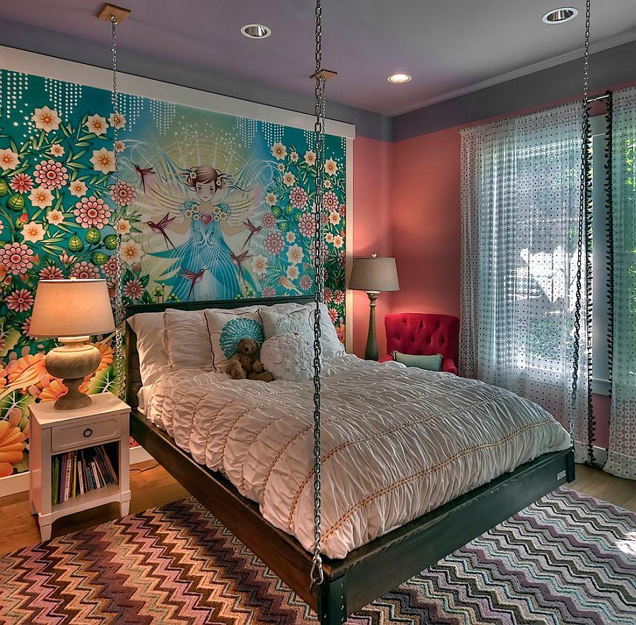 Принт шеврон. Восточная сказка с подвесной кроватью и роскошным ковром от Tamara Rosenbloom Design